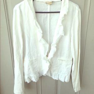 Michael Kors White Linen Blazer Jacket Large
